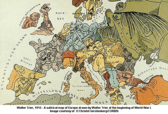 Political cartoon by Walter Trier (1890-1951).