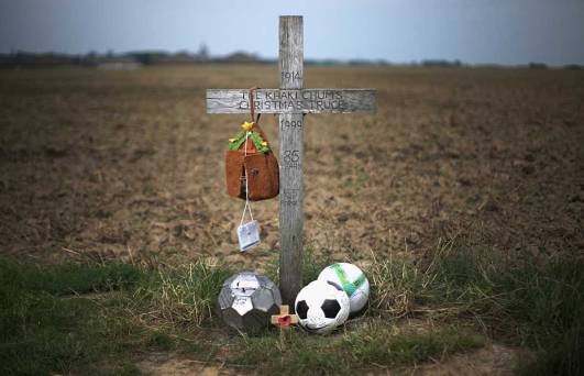 Memorial for the 1914 Christmas Truce in Flanders, Belgium, where soldiers may have played soccer.