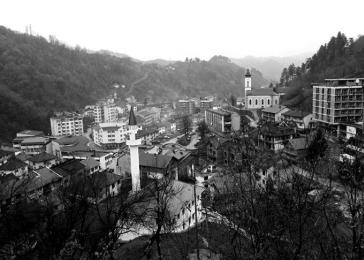 Photo of Srebrenica City, 2002, from the United States Holocaust Memorial Museum.