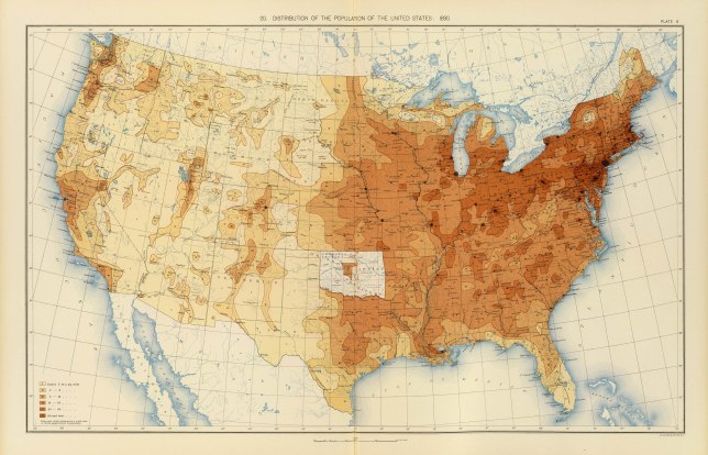 Distribution of Population in 1890, US Census
